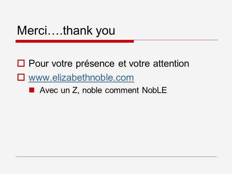 Merci….thank you Pour votre présence et votre attention
