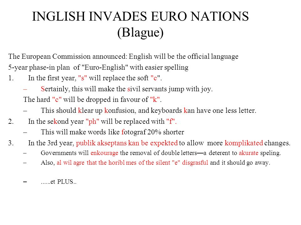 INGLISH INVADES EURO NATIONS (Blague)
