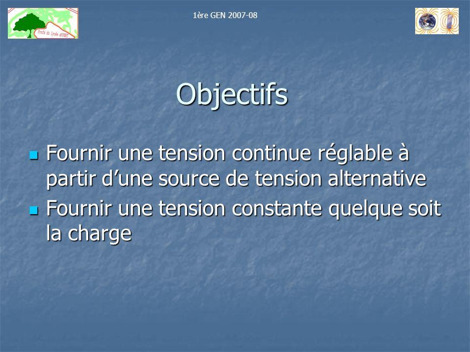 1ère GEN 2007-08 Objectifs. Fournir une tension continue réglable à partir d'une source de tension alternative.