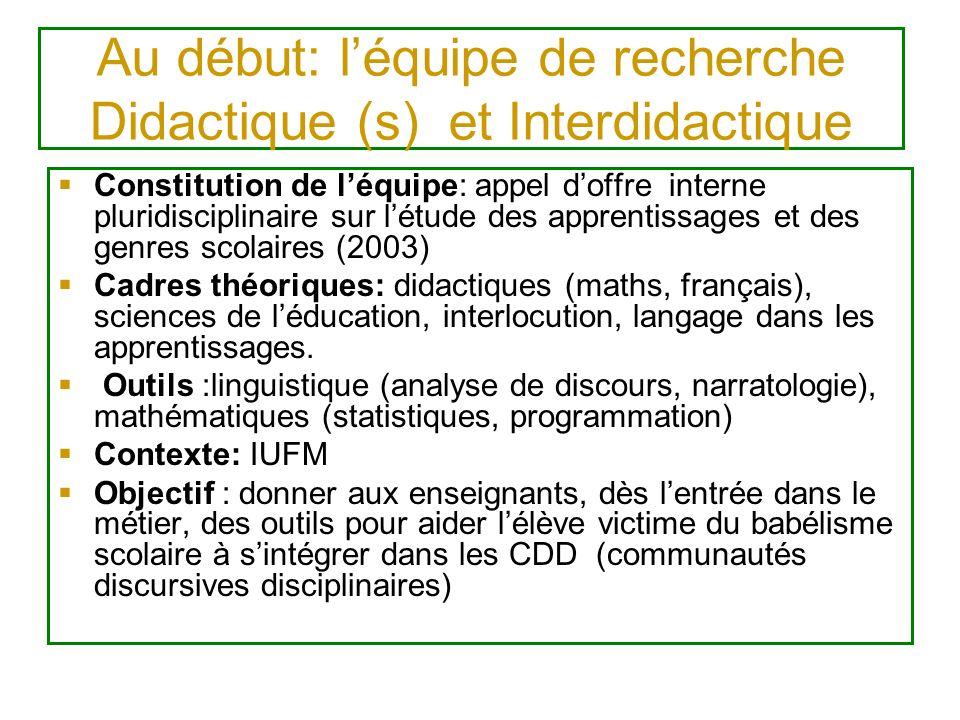 Au début: l'équipe de recherche Didactique (s) et Interdidactique