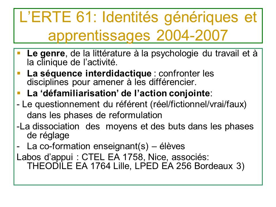 L'ERTE 61: Identités génériques et apprentissages 2004-2007