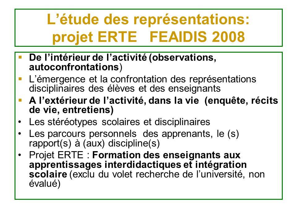 L'étude des représentations: projet ERTE FEAIDIS 2008