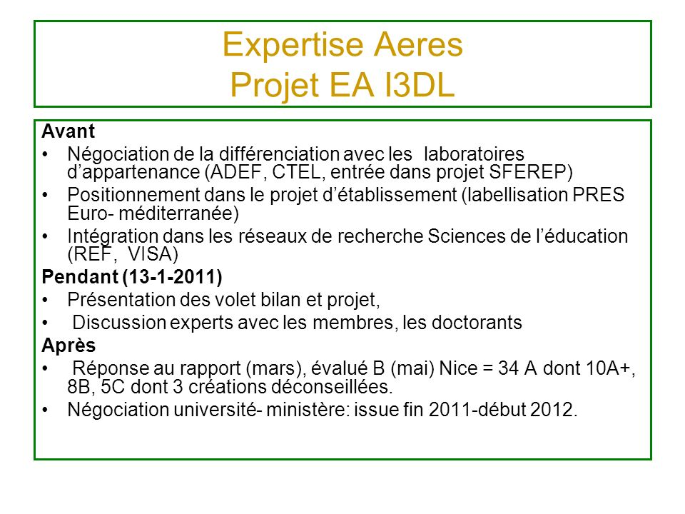 Expertise Aeres Projet EA I3DL