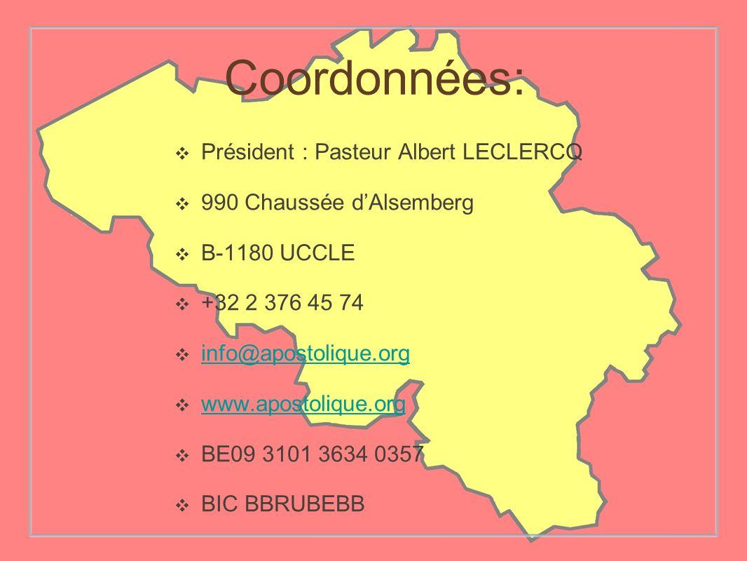 Coordonnées: Président : Pasteur Albert LECLERCQ