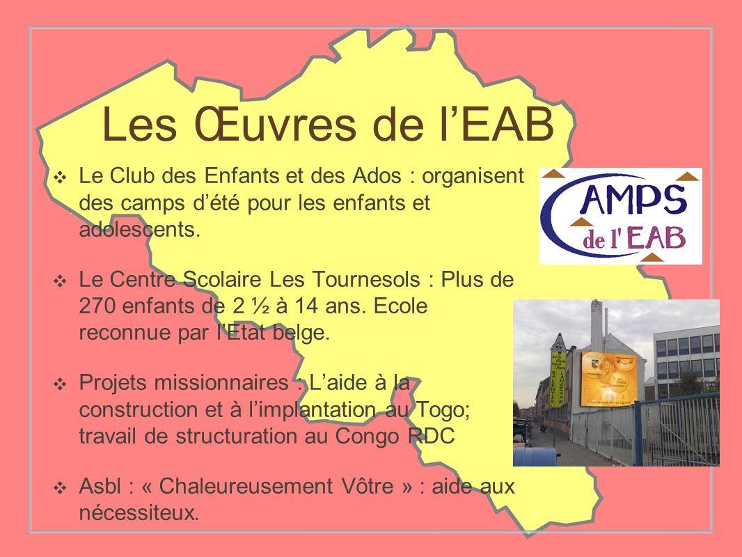 Les Œuvres de l'EAB Le Club des Enfants et des Ados : organisent des camps d'été pour les enfants et adolescents.