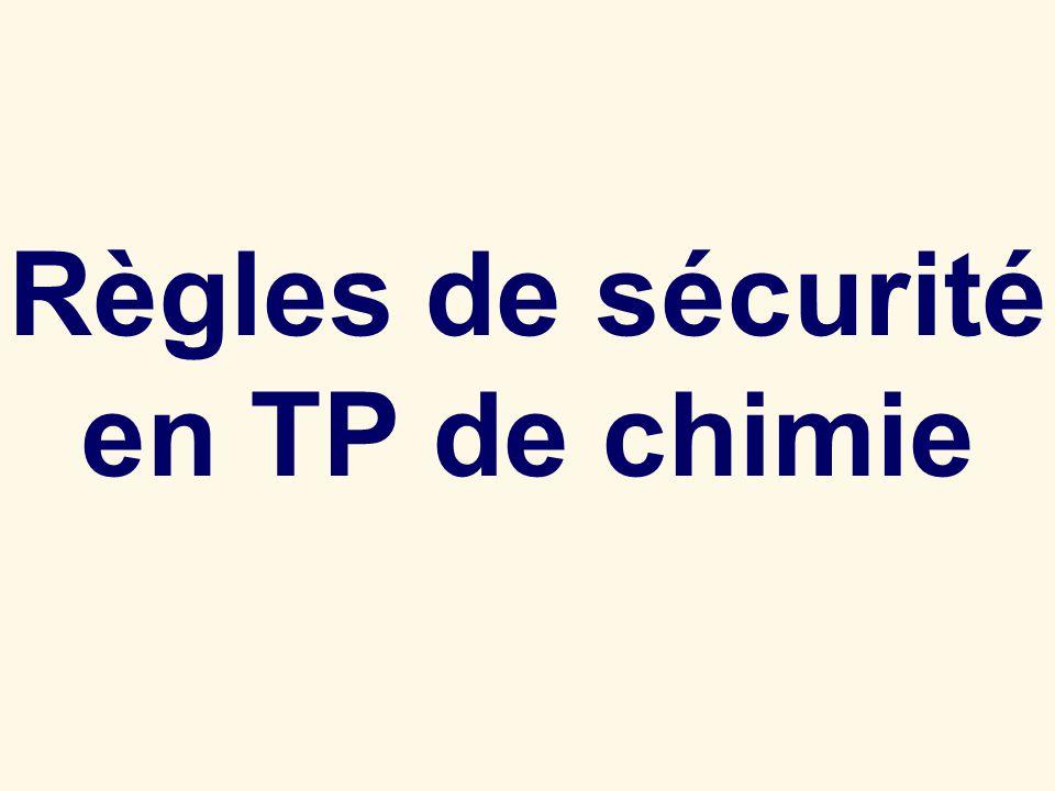 Règles de sécurité en TP de chimie