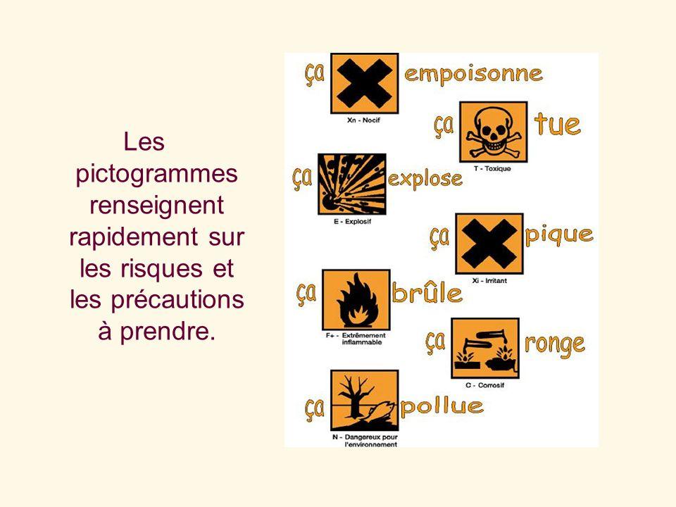 M.ParisisLes pictogrammes renseignent rapidement sur les risques et les précautions à prendre.
