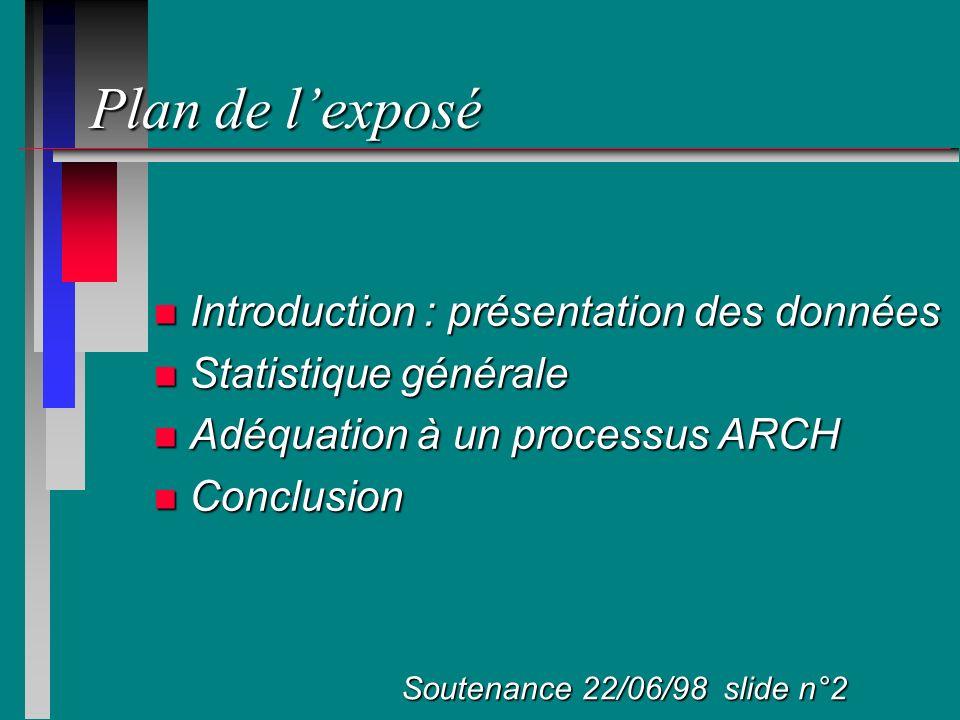 Plan de l'exposé Introduction : présentation des données