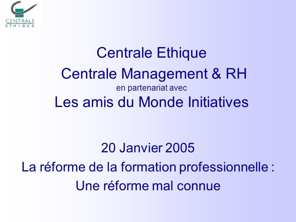 La réforme de la formation professionnelle :