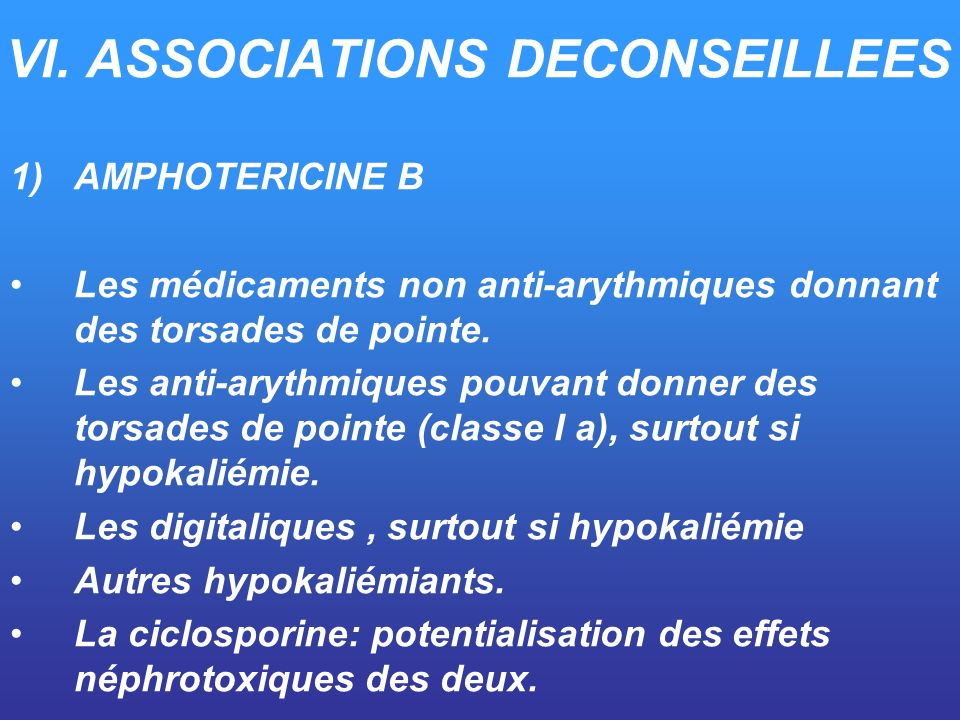 VI. ASSOCIATIONS DECONSEILLEES