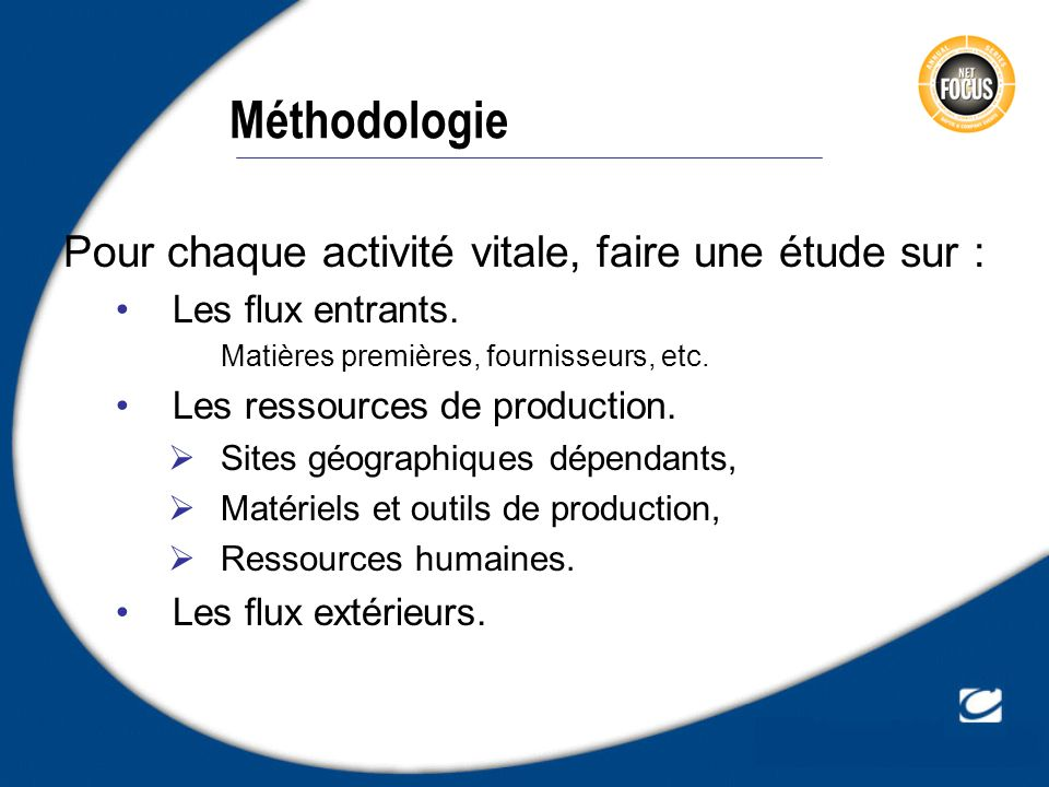 Méthodologie Pour chaque activité vitale, faire une étude sur :