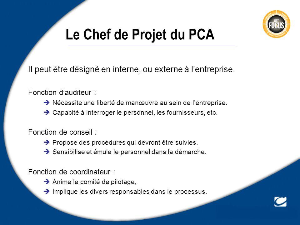 Le Chef de Projet du PCA Il peut être désigné en interne, ou externe à l'entreprise. Fonction d'auditeur :