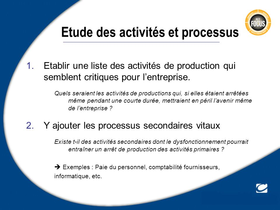 Etude des activités et processus
