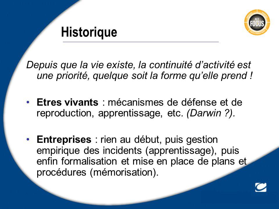 Historique Depuis que la vie existe, la continuité d'activité est une priorité, quelque soit la forme qu'elle prend !