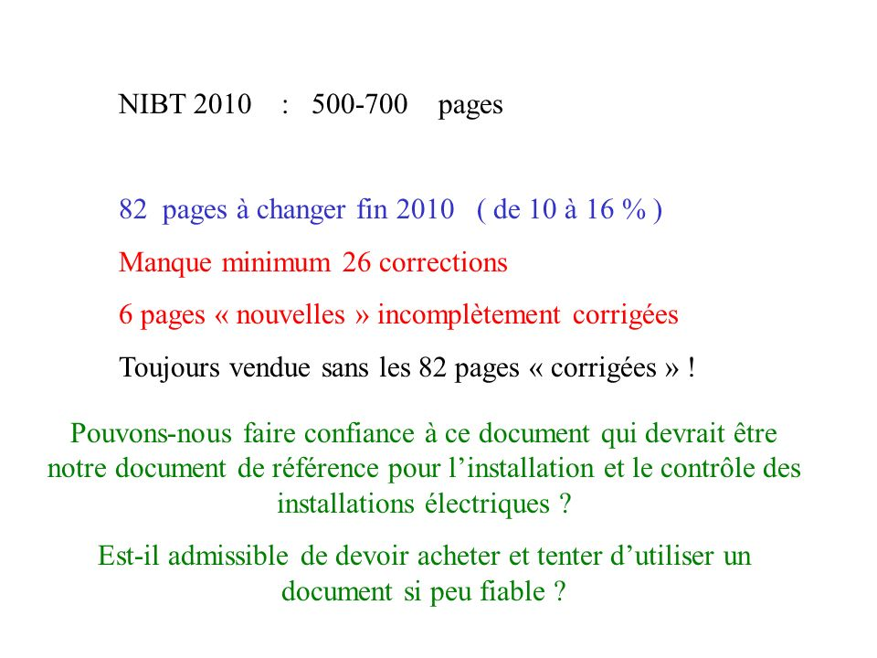 NIBT 2010 : 500-700 pages82 pages à changer fin 2010 ( de 10 à 16 % ) Manque minimum 26 corrections.