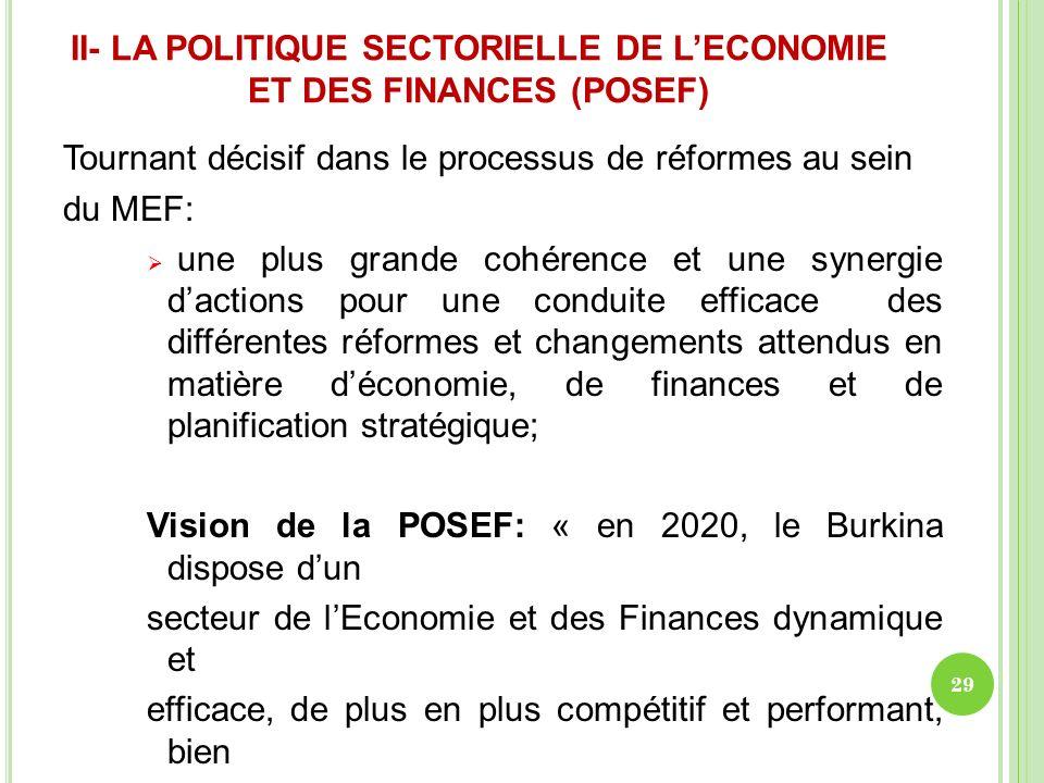 II- LA POLITIQUE SECTORIELLE DE L'ECONOMIE ET DES FINANCES (POSEF)