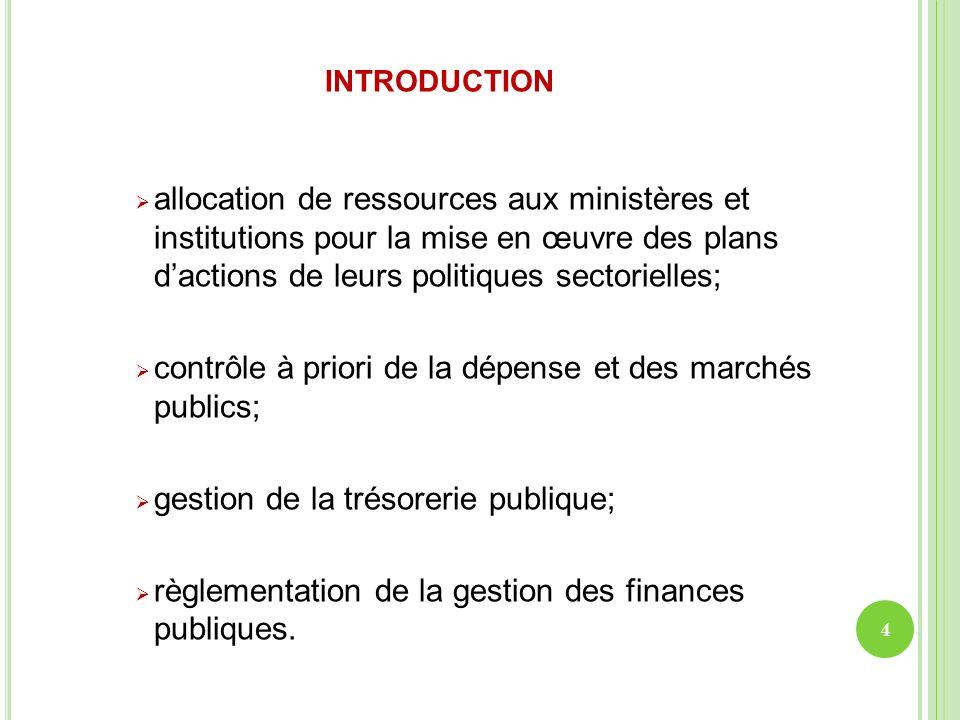 introduction allocation de ressources aux ministères et institutions pour la mise en œuvre des plans d'actions de leurs politiques sectorielles;