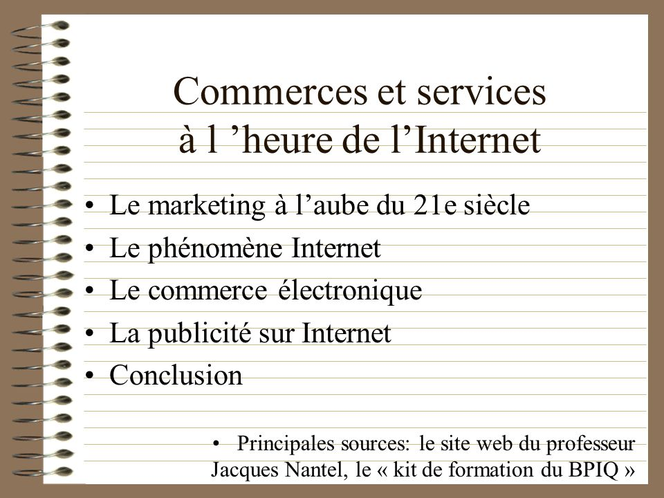 Commerces et services à l 'heure de l'Internet