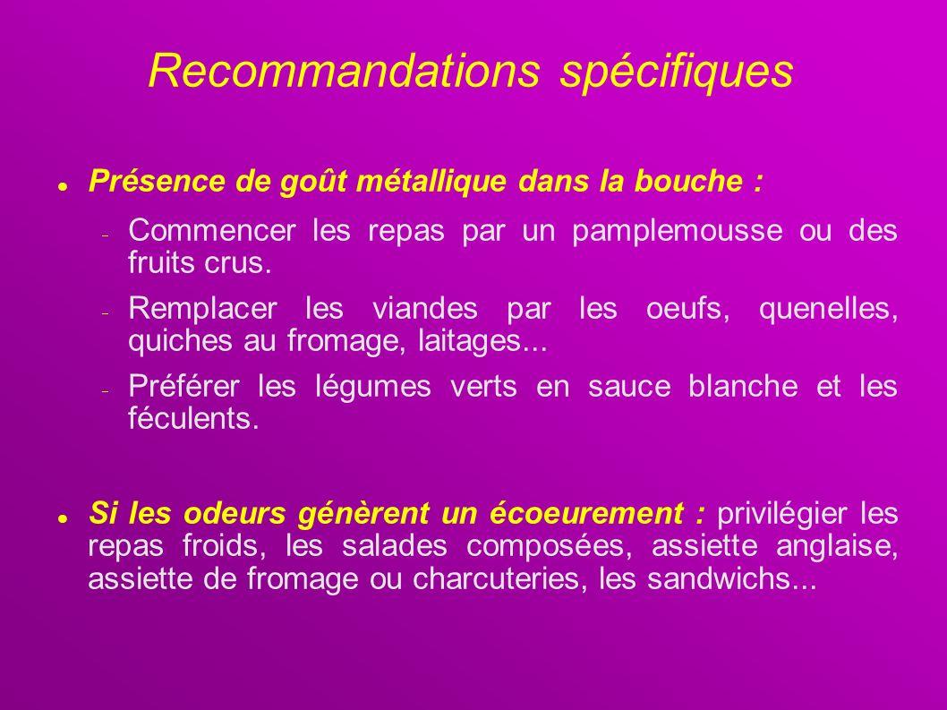 Recommandations spécifiques