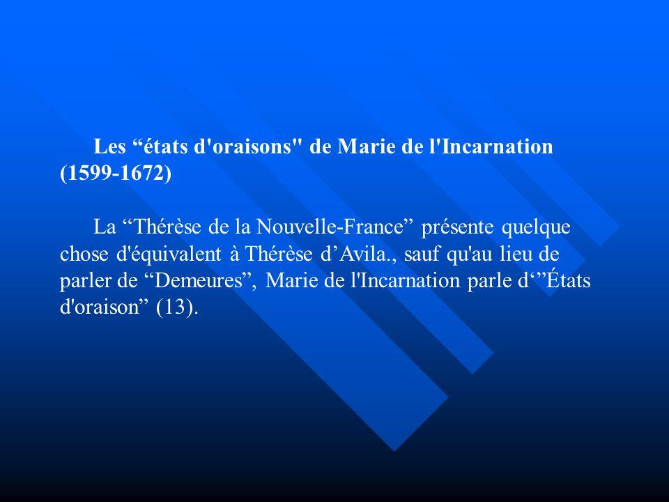 Les états d oraisons de Marie de l Incarnation (1599-1672)