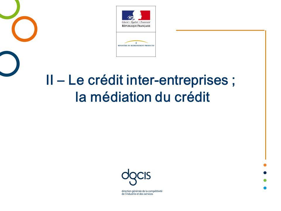 II – Le crédit inter-entreprises ; la médiation du crédit