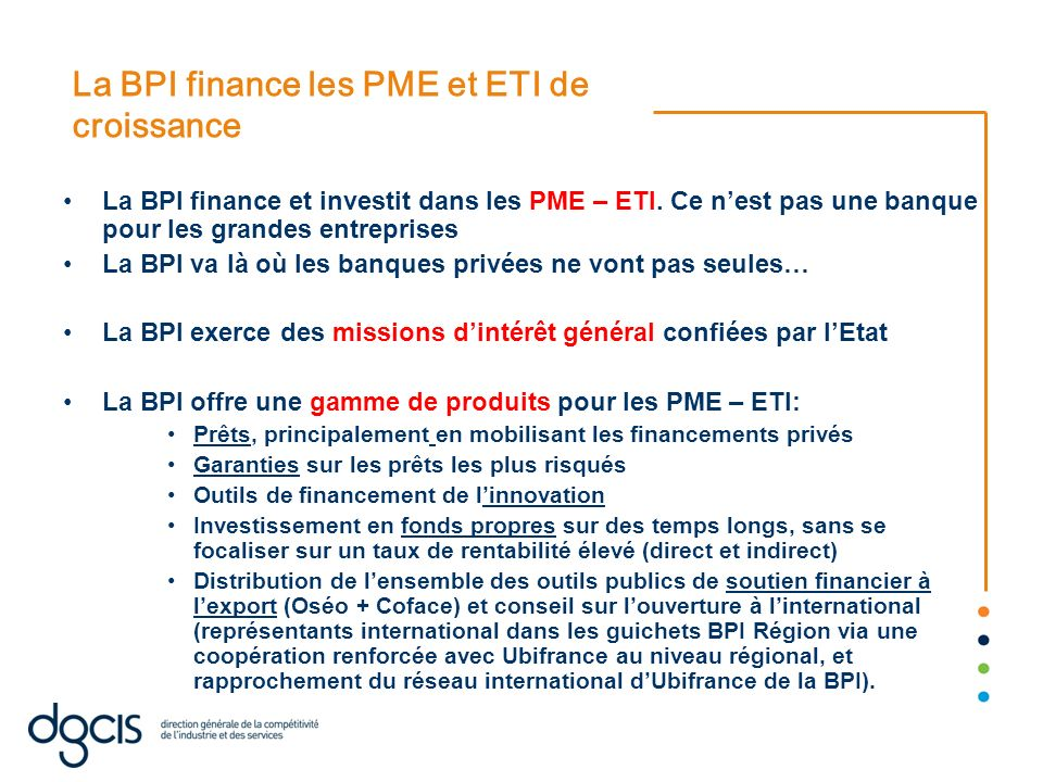 La BPI finance les PME et ETI de croissance