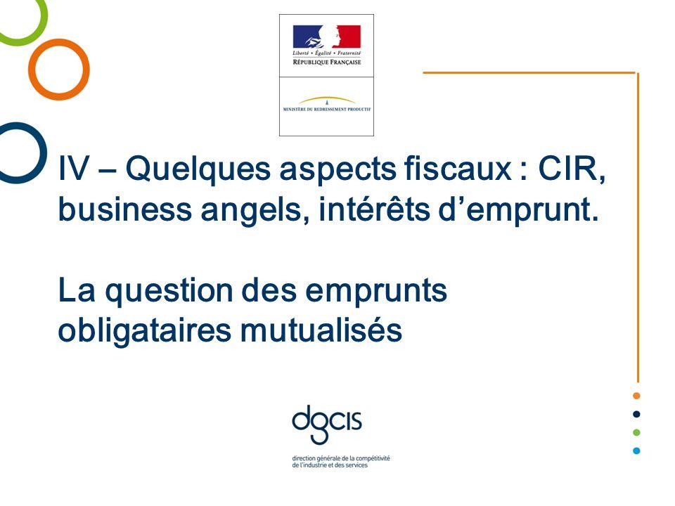 IV – Quelques aspects fiscaux : CIR, business angels, intérêts d'emprunt.