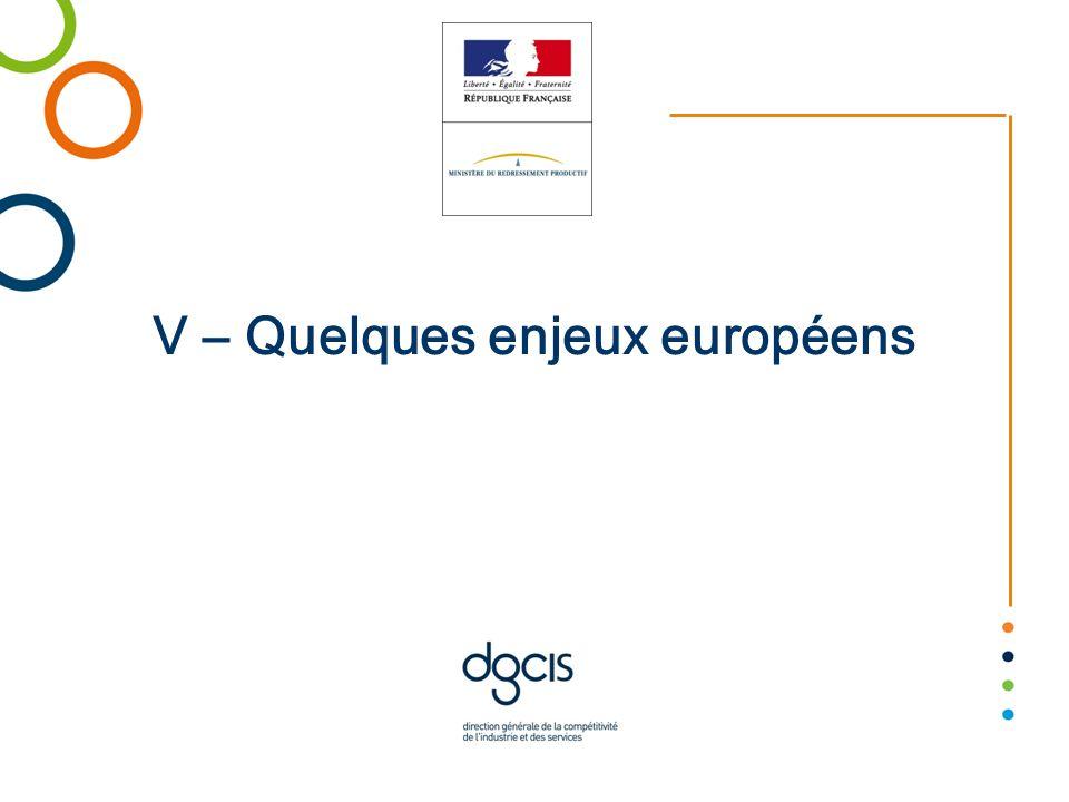 V – Quelques enjeux européens