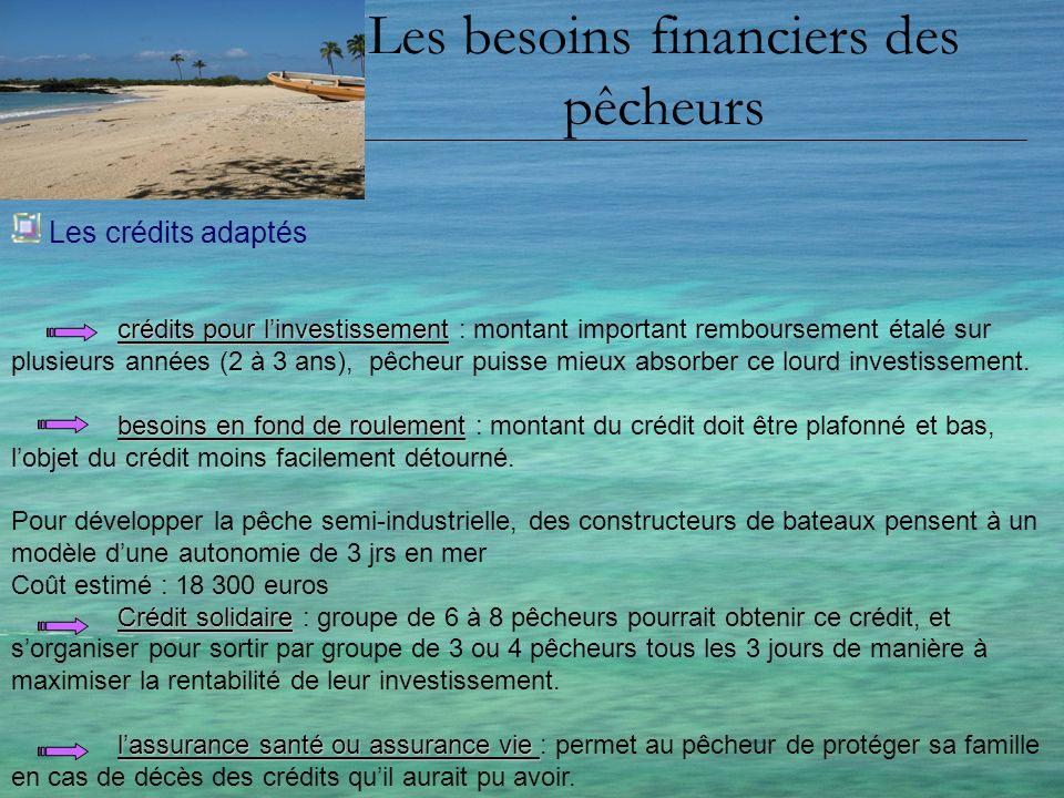 Les besoins financiers des pêcheurs