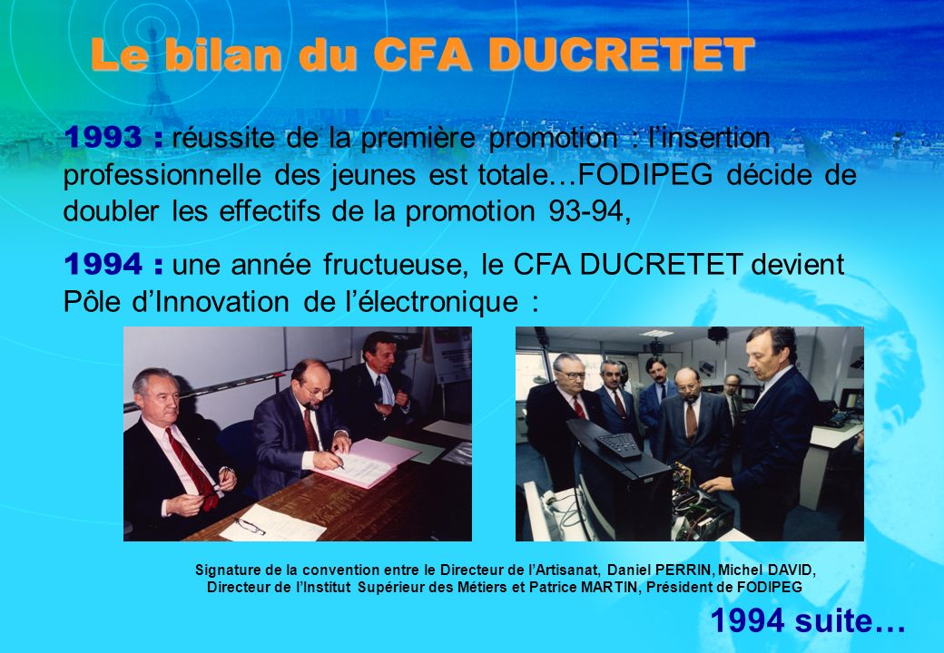 Le bilan du CFA DUCRETET
