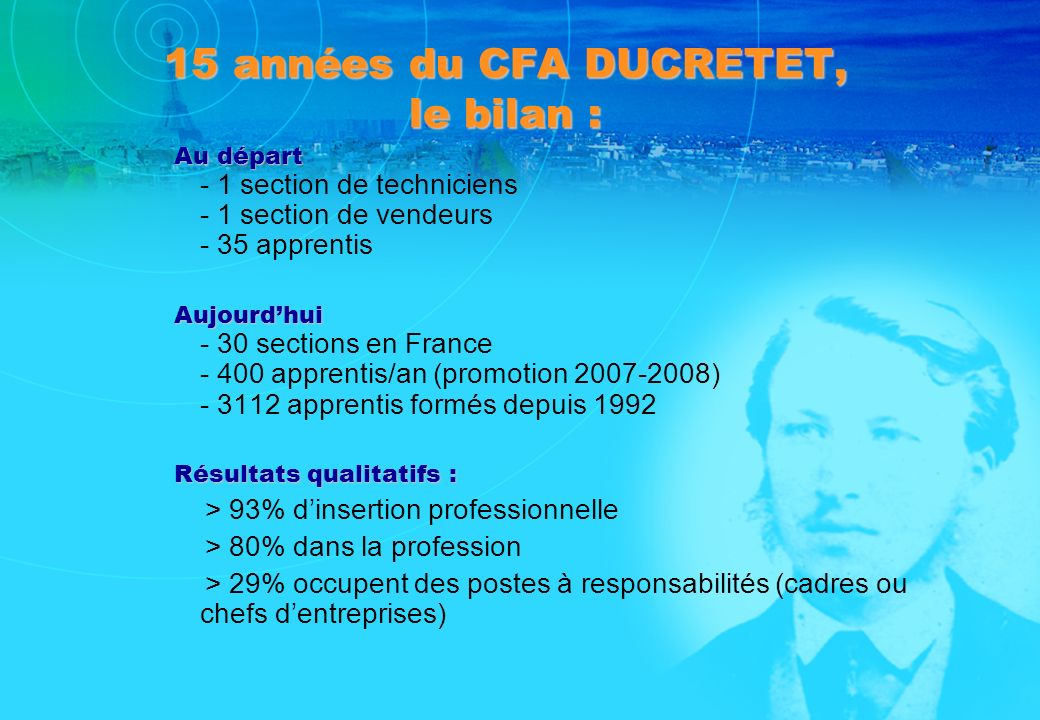 15 années du CFA DUCRETET, le bilan :