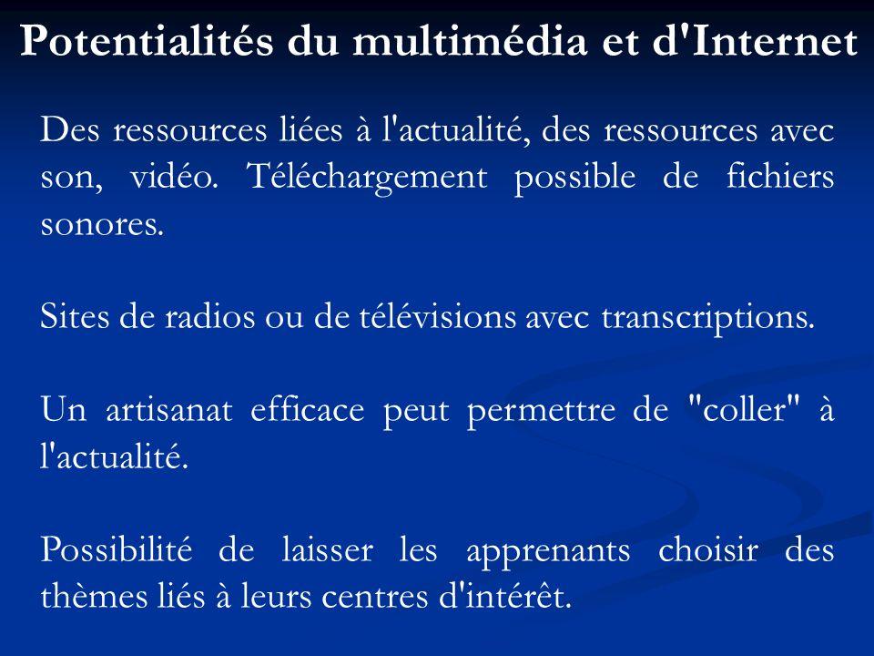 Potentialités du multimédia et d Internet