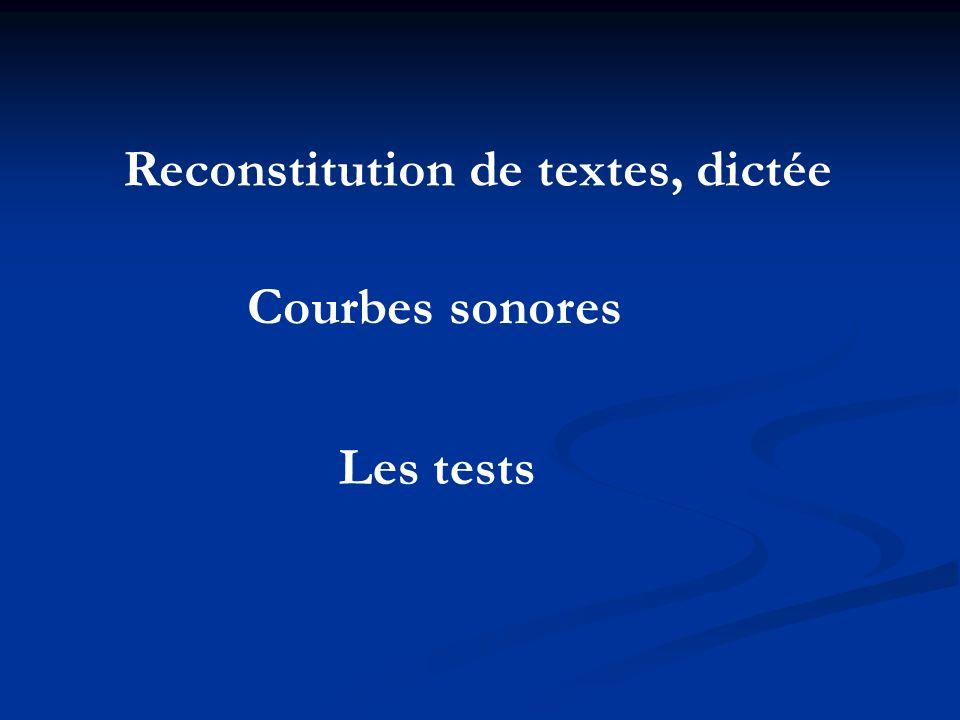 Reconstitution de textes, dictée
