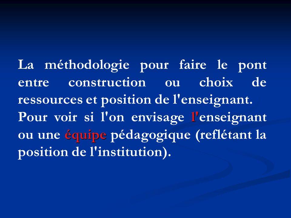 La méthodologie pour faire le pont entre construction ou choix de ressources et position de l enseignant.