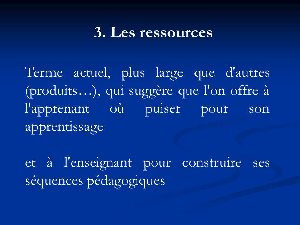 3. Les ressourcesTerme actuel, plus large que d autres (produits…), qui suggère que l on offre à l apprenant où puiser pour son apprentissage.