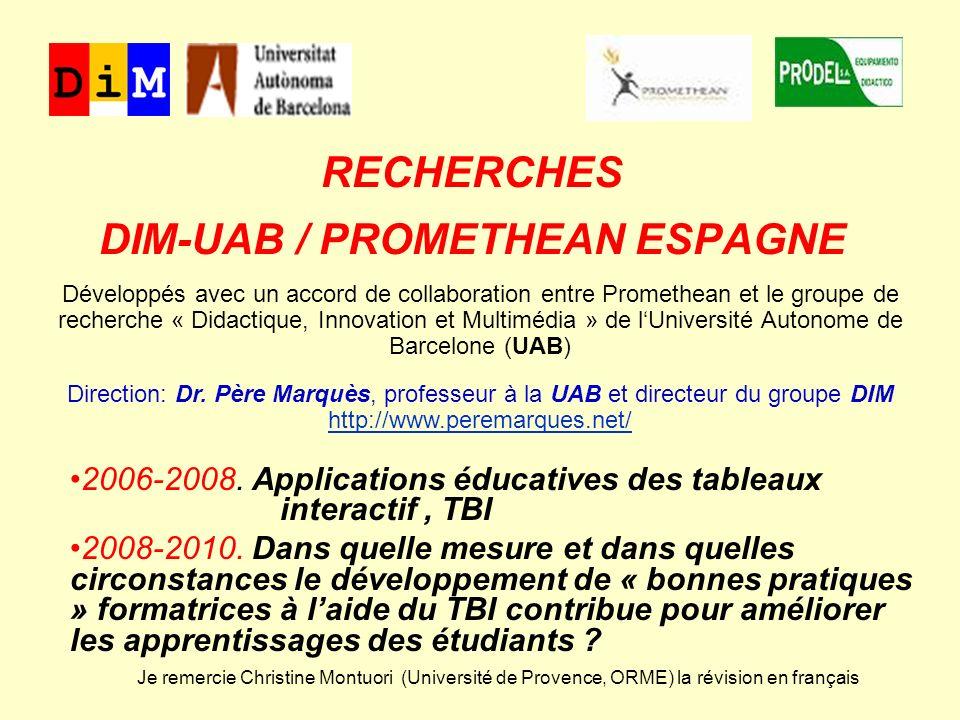 RECHERCHES DIM-UAB / PROMETHEAN ESPAGNE