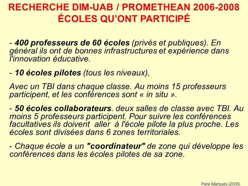 RECHERCHE DIM-UAB / PROMETHEAN 2006-2008 ÉCOLES QU'ONT PARTICIPÉ