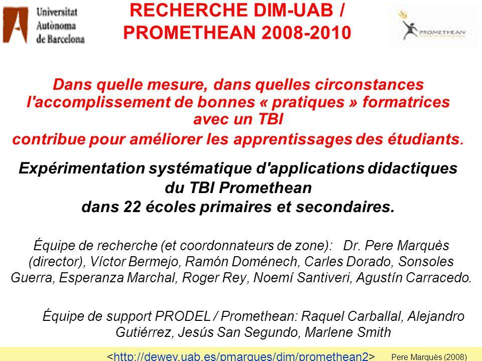 RECHERCHE DIM-UAB / PROMETHEAN 2008-2010