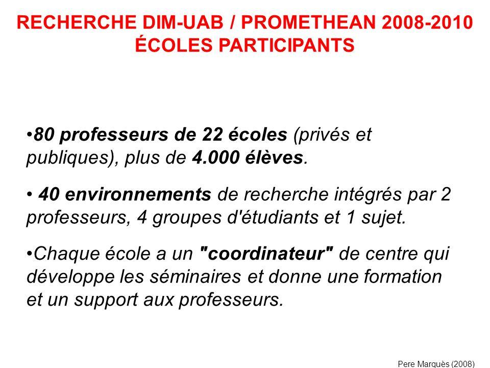 RECHERCHE DIM-UAB / PROMETHEAN 2008-2010 ÉCOLES PARTICIPANTS
