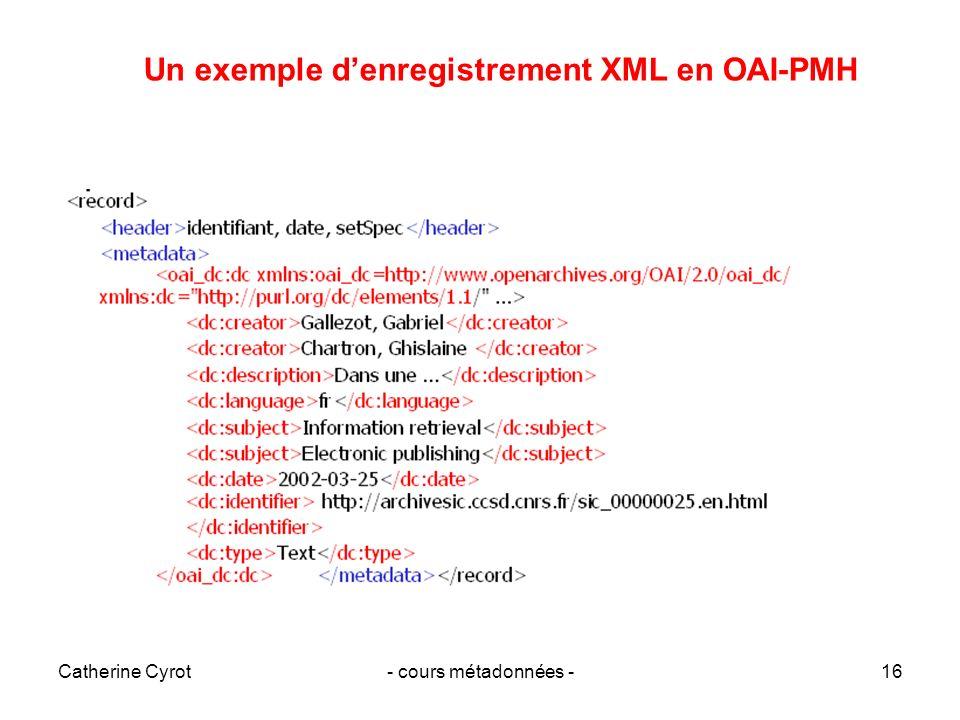 Un exemple d'enregistrement XML en OAI-PMH