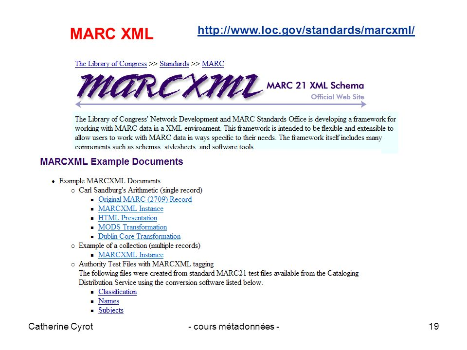 MARC XML http://www.loc.gov/standards/marcxml/ Catherine Cyrot