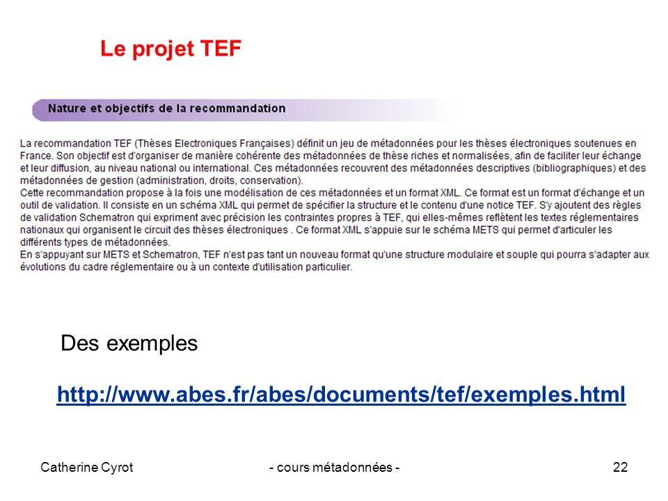 Le projet TEF Des exemples