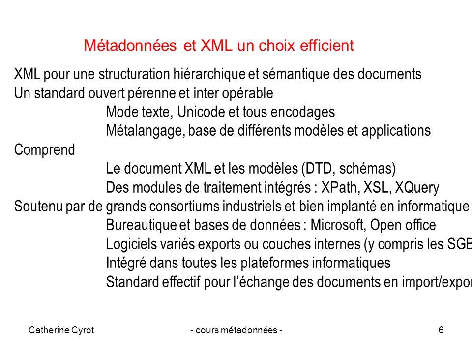 Métadonnées et XML un choix efficient