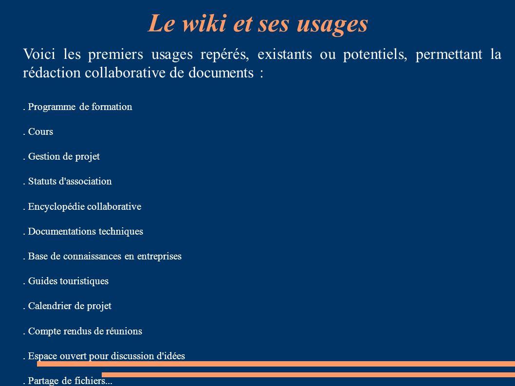 Le wiki et ses usages Voici les premiers usages repérés, existants ou potentiels, permettant la rédaction collaborative de documents :