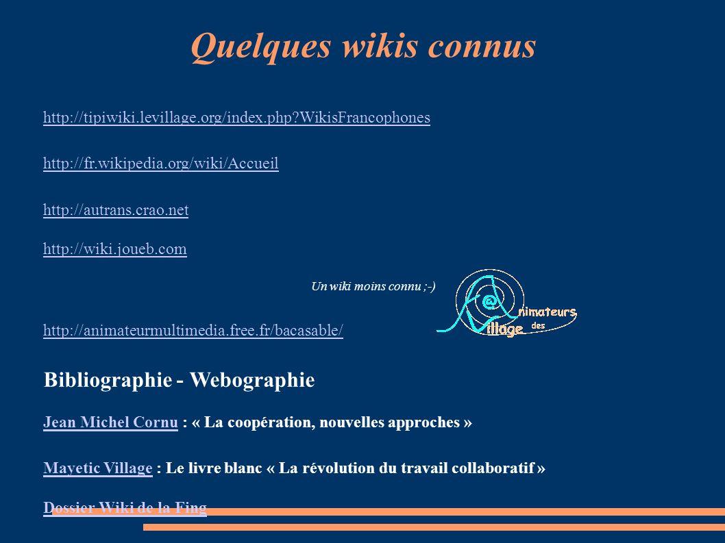 Quelques wikis connus Bibliographie - Webographie