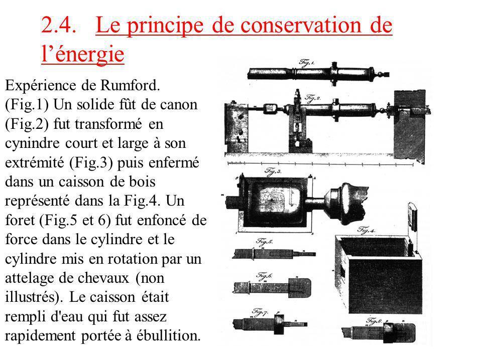 2.4. Le principe de conservation de l'énergie