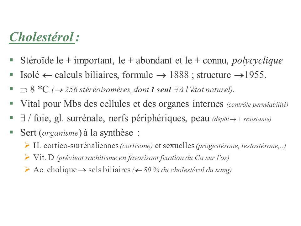 Cholestérol :Stéroïde le + important, le + abondant et le + connu, polycyclique. Isolé  calculs biliaires, formule  1888 ; structure 1955.