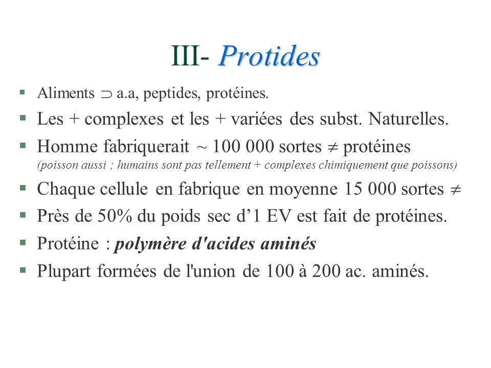III- Protides Les + complexes et les + variées des subst. Naturelles.