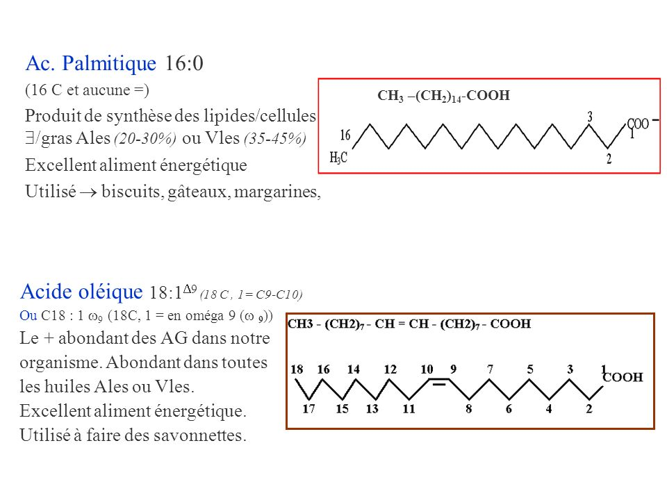 Acide oléique 18:19 (18 C , 1= C9-C10)