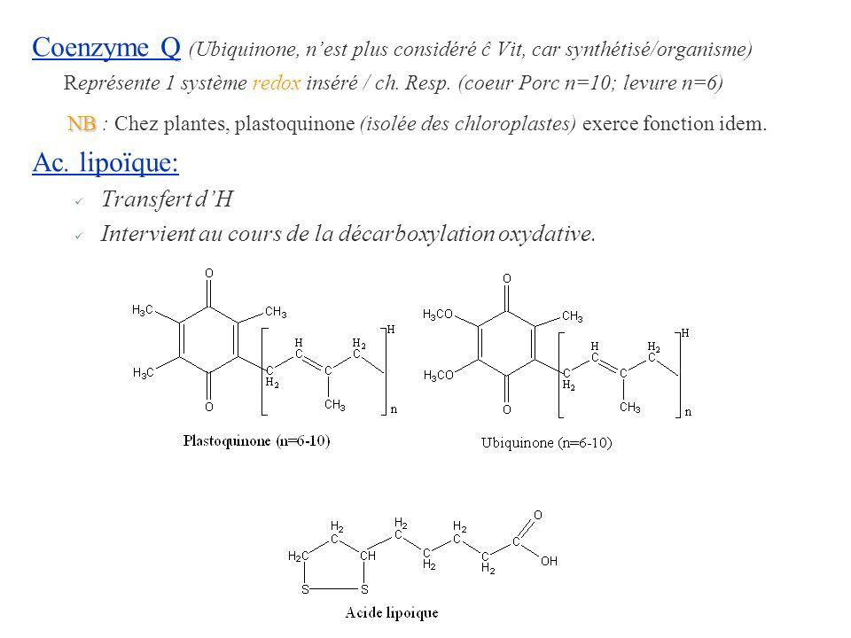 Coenzyme Q (Ubiquinone, n'est plus considéré ĉ Vit, car synthétisé/organisme) Représente 1 système redox inséré / ch. Resp. (coeur Porc n=10; levure n=6)